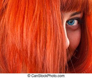 beauttiful, mujer, pelo rojo