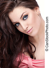 Beauty - A beautiful young girl with makeup on white...
