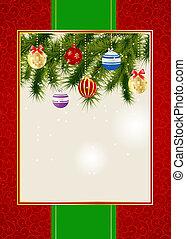 beauty, abstract, jaar, illustratie, achtergrond., vector, uitnodiging, nieuw, kerstmis