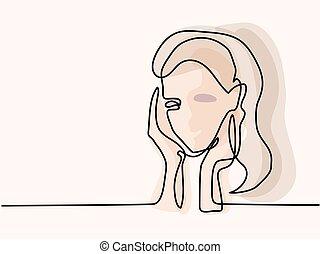 beauty., abstrakt, woman., porträt