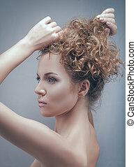 Beauty adul woman posing in studio, classic female portrait