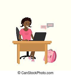 Beauty african american girl teenager communicates with a laptop
