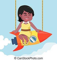Beauty african girl on rocket