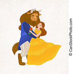 Beauty and Beast dancing waltz. Young woman and bewitched...