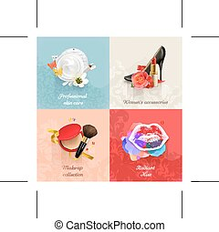 Beauty and cosmetics backgrounds - Set with beauty and...