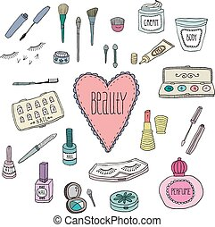 Beauty and cosmetics icons doodles - Beauty and cosmetics ...