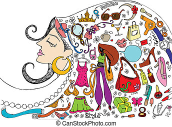 Beauty and Fashion Doddle - illustration of female realted...