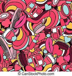 Beauty and fashion seamless pattern with cosmetic accessories