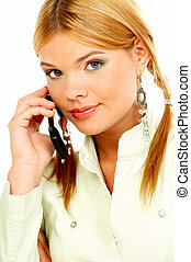 Portrait of attractive beautiful young woman with cell phone