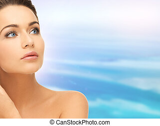 face and shoulders of beautiful woman