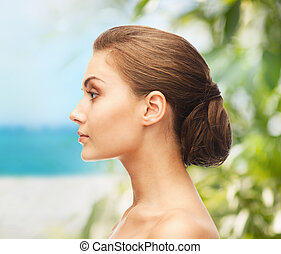 face of beautiful woman - beauty and jewelry concept - face ...