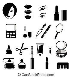 Beauty and make up vector black icons