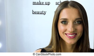Beauty and makeup concept - closeup portrait of beautiful...
