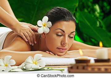 beauty and spa - portrait of young beautiful woman in spa ...