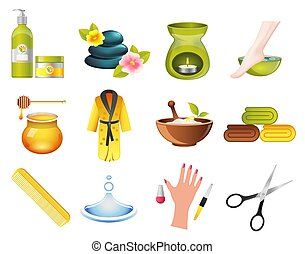 Beauty and Spa Relax Icons set. Hairdresser and massage...