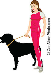 Beauty And The Rottweiler - Vector illustration of a woman...
