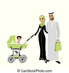 Beauty Arab family couple with a baby in a stroller,