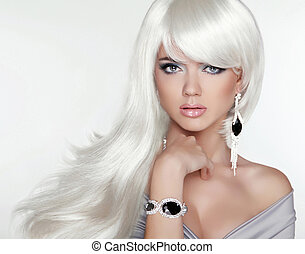 Beauty attractive blond portrait. White Long hair. Fashion girl
