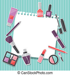 Beauty background with icons cosmetics.