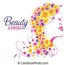Beauty Background with Woman face and Hair Full of Flowers. Vector Illustration
