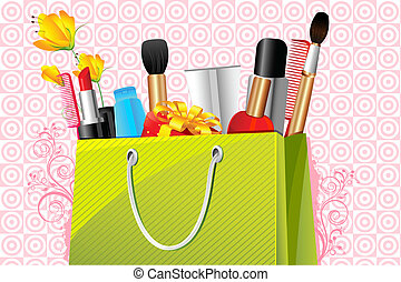 Beauty Bag - illustration of shopping bag full of cosmetic...