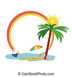 beauty beach vector illustration