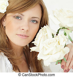Beauty - beautiful woman and rose flowers
