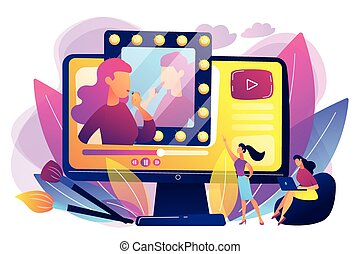 Female user watches beauty blogger showing latest trend makeup tutorial. Beauty blogger, beauty blog production, online beauty consultant concept. Bright vibrant violet vector isolated illustration