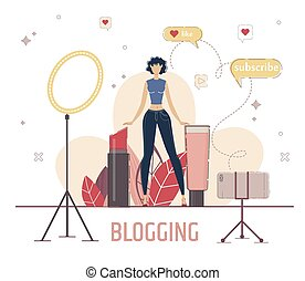 Beauty Blogger Live Stream Concept. Woman Recording Video with Smartphone, Reviewing Cosmetics Products, Testing Goods for Makeup, Recommending Brand to Subscriber Trendy Flat Vector Illustration