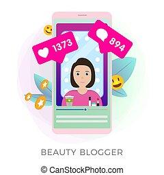 Beauty Blogger Showing Latest Makeup Trend Tutorials vector ...