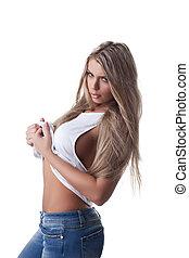 Beauty blond woman posing in white tank top