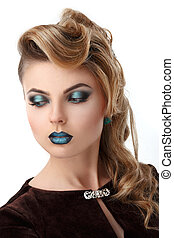 Beauty Blonde Girl Portrait with Colorful Makeup