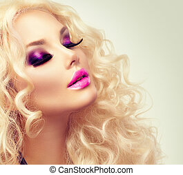 beauty, blonde , meisje, met, gezonde , lang, krullebol