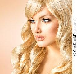 beauty, blonde, woman., mooi, meisje, met, lang, krullend,...