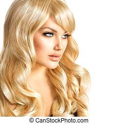 beauty, blonde, woman., mooi, meisje, met, lang, krullend, blond haar