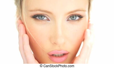 beauty blonde woman touching her face - beauty blonde woman...