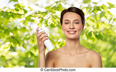 beautiful young woman with hair spray or mist - beauty, ...