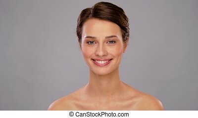 beautiful smiling young woman with bare shoulder - beauty, ...