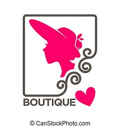 Beauty boutique woman head in hat vector isolated pink heart icon