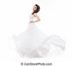 Beauty bride in wedding fashion white dress running
