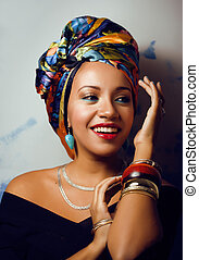 beauty bright african woman with creative make up, shawl on ...