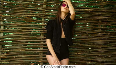 beauty brunette at the fence in sunglasses posing