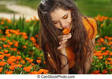 Beauty brunette Romantic Girl Outdoors. Beautiful Teenage...