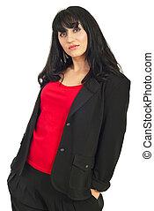 Beauty brunette woman in black suit