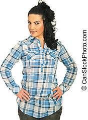 Beauty brunette woman in cool shirt