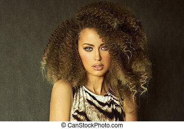 Beauty brunette woman portrait.