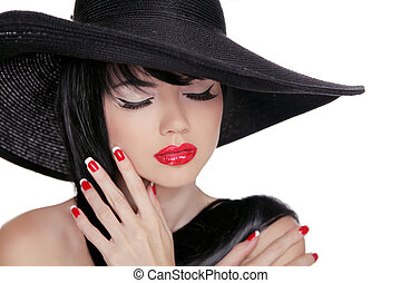 Beauty Brunette Woman with glamour bright makeup and red manicure