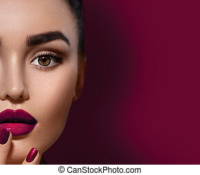 Beauty brunette woman with perfect makeup isolated on...