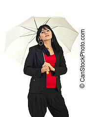 Beauty brunette woman with umbrella