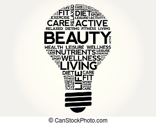 BEAUTY bulb word cloud collage